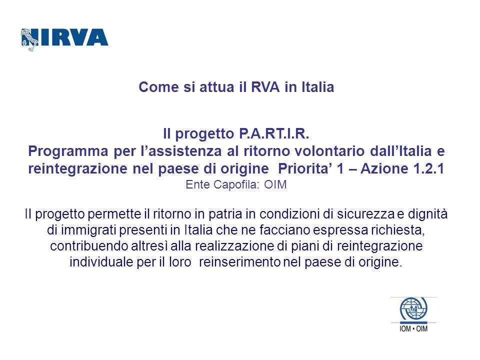 Come si attua il RVA in Italia Il progetto P.A.RT.I.R. Programma per lassistenza al ritorno volontario dallItalia e reintegrazione nel paese di origin