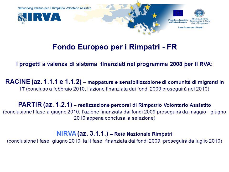 Fondo Europeo per i Rimpatri - FR I progetti a valenza di sistema finanziati nel programma 2008 per il RVA: RACINE (az. 1.1.1 e 1.1.2) – mappatura e s