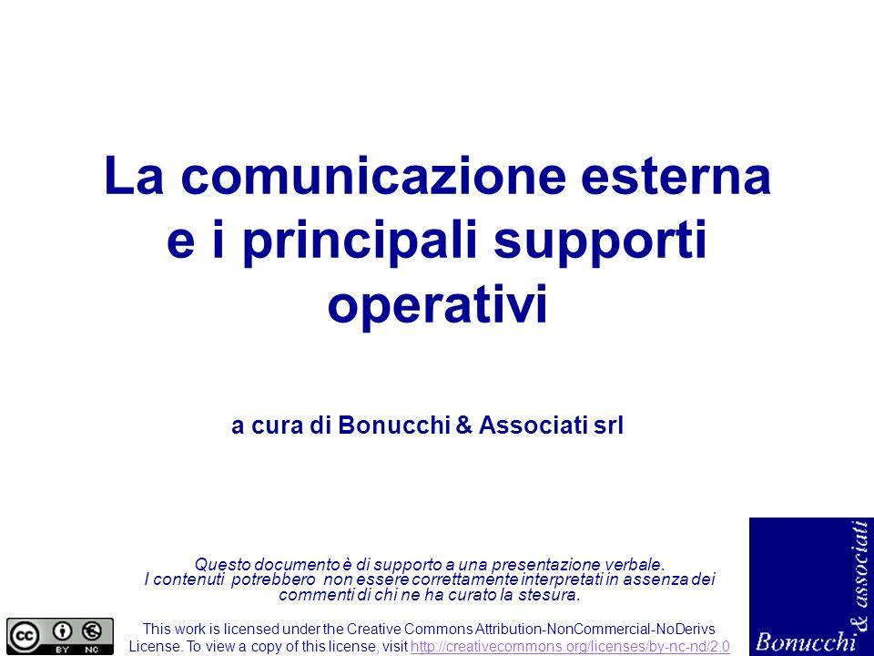 La comunicazione esterna e i principali supporti operativi Questo documento è di supporto a una presentazione verbale. I contenuti potrebbero non esse