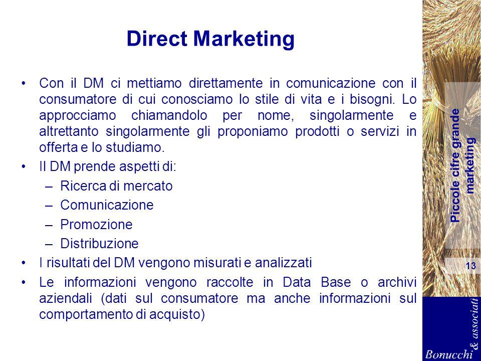 Piccole cifre grande marketing 13 Direct Marketing Con il DM ci mettiamo direttamente in comunicazione con il consumatore di cui conosciamo lo stile d