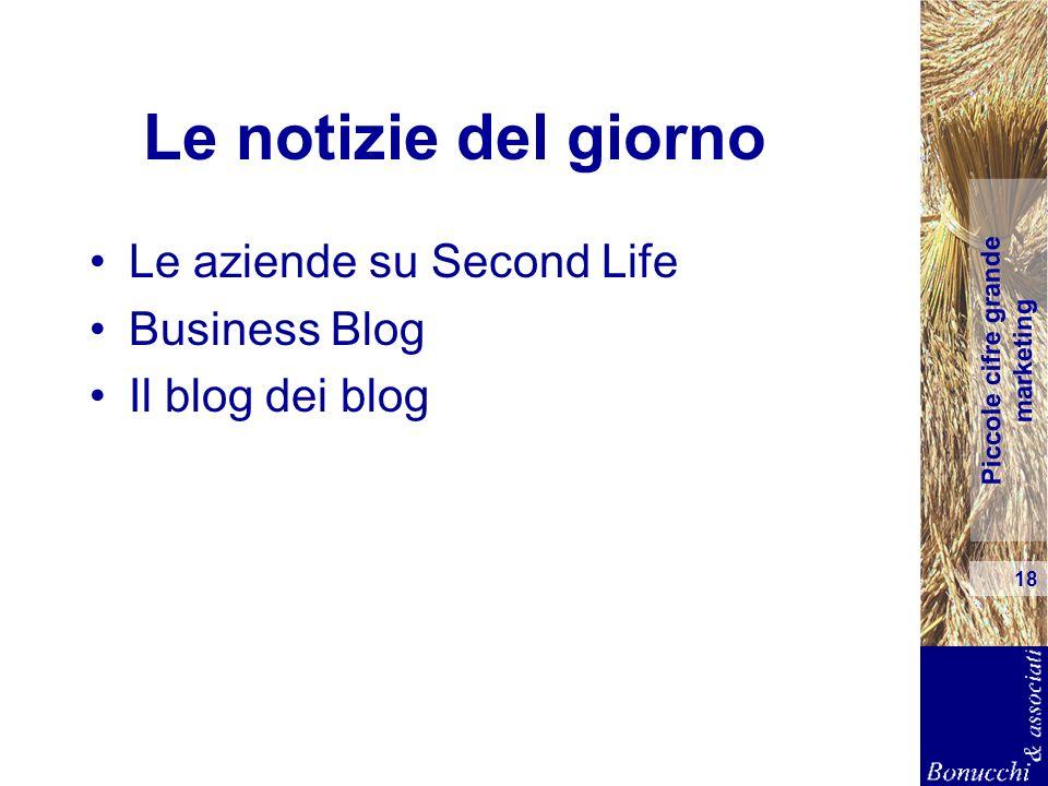 Piccole cifre grande marketing 18 Le notizie del giorno Le aziende su Second Life Business Blog Il blog dei blog