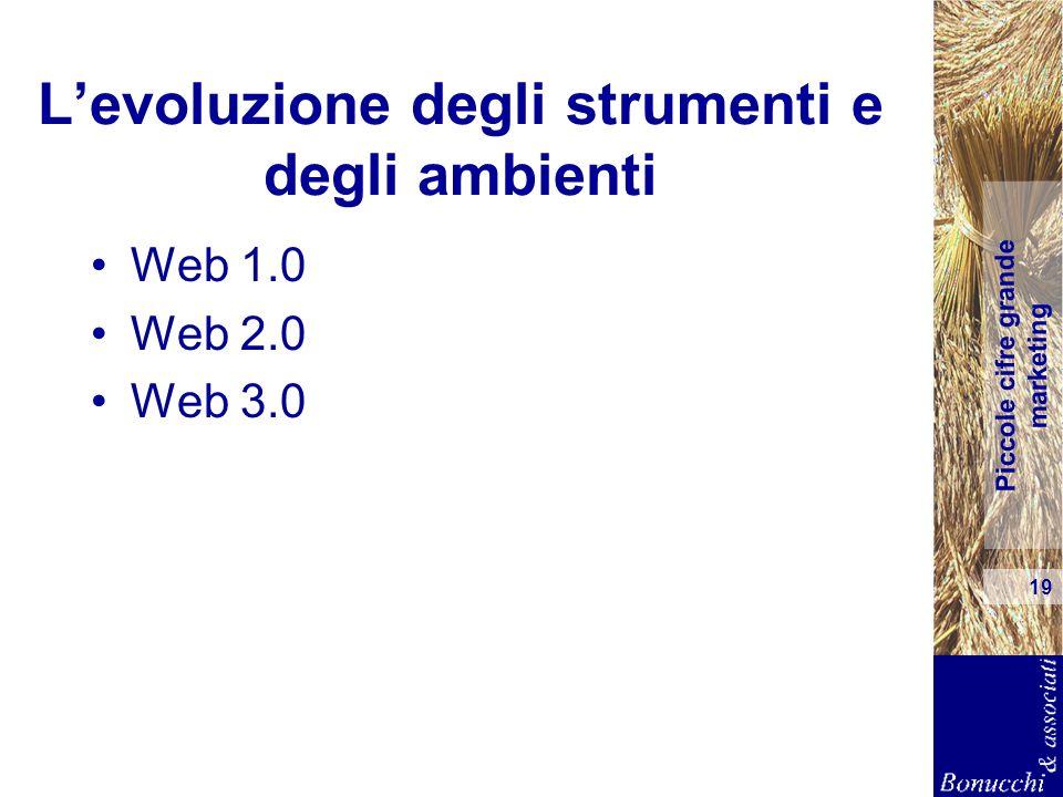 Piccole cifre grande marketing 19 Levoluzione degli strumenti e degli ambienti Web 1.0 Web 2.0 Web 3.0