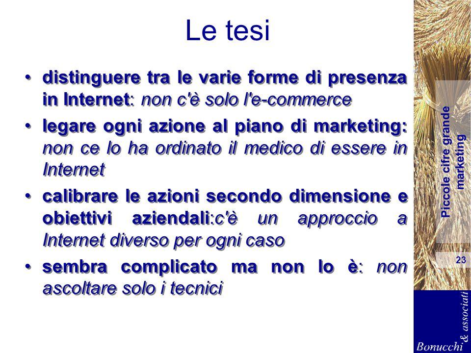 Piccole cifre grande marketing 23 Le tesi distinguere tra le varie forme di presenza in Internet: non c'è solo l'e-commerce legare ogni azione al pian
