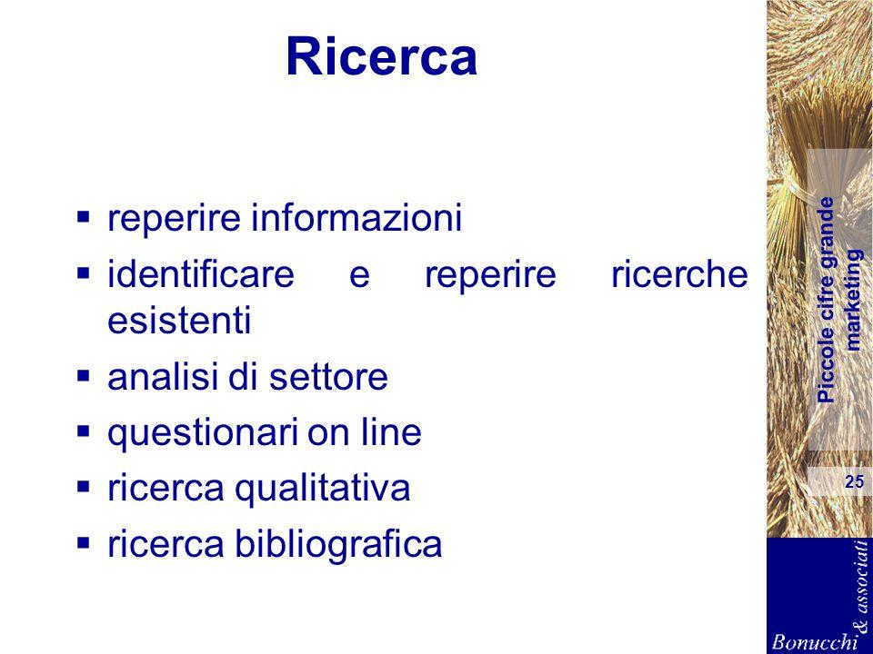 Piccole cifre grande marketing 25 Ricerca reperire informazioni identificare e reperire ricerche esistenti analisi di settore questionari on line rice