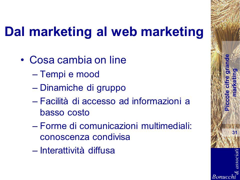 Piccole cifre grande marketing 31 Dal marketing al web marketing Cosa cambia on line –Tempi e mood –Dinamiche di gruppo –Facilità di accesso ad inform