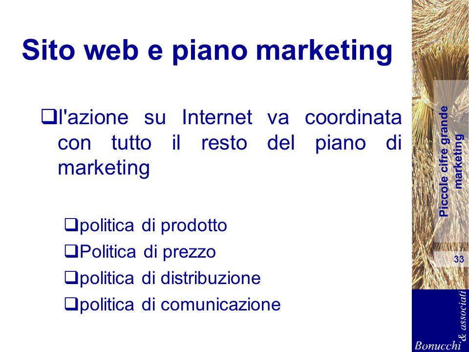 Piccole cifre grande marketing 33 Sito web e piano marketing l'azione su Internet va coordinata con tutto il resto del piano di marketing politica di