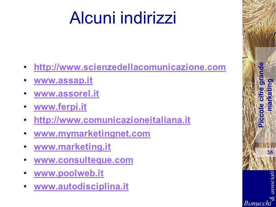 Piccole cifre grande marketing 36 Alcuni indirizzi http://www.scienzedellacomunicazione.com www.assap.it www.assorel.it www.ferpi.it http://www.comuni
