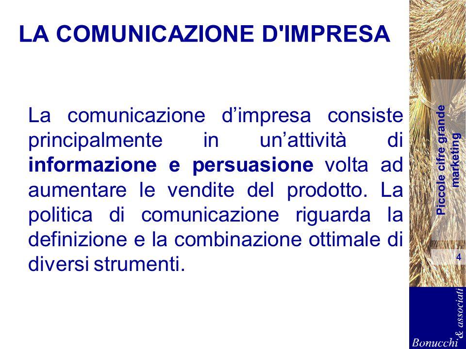 Piccole cifre grande marketing 4 LA COMUNICAZIONE D'IMPRESA La comunicazione dimpresa consiste principalmente in unattività di informazione e persuasi