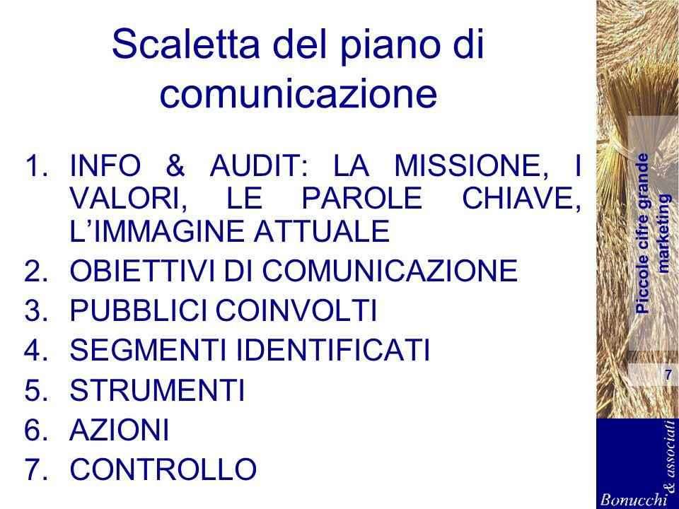 Piccole cifre grande marketing 7 Scaletta del piano di comunicazione 1.INFO & AUDIT: LA MISSIONE, I VALORI, LE PAROLE CHIAVE, LIMMAGINE ATTUALE 2.OBIE
