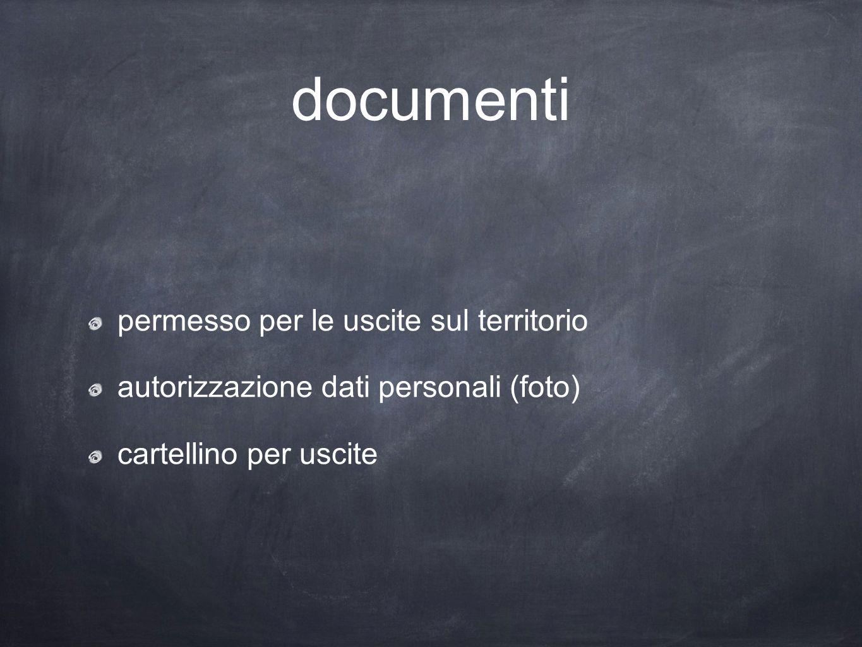 documenti permesso per le uscite sul territorio autorizzazione dati personali (foto) cartellino per uscite