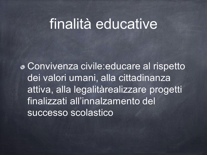 finalità educative Convivenza civile:educare al rispetto dei valori umani, alla cittadinanza attiva, alla legalitàrealizzare progetti finalizzati alli