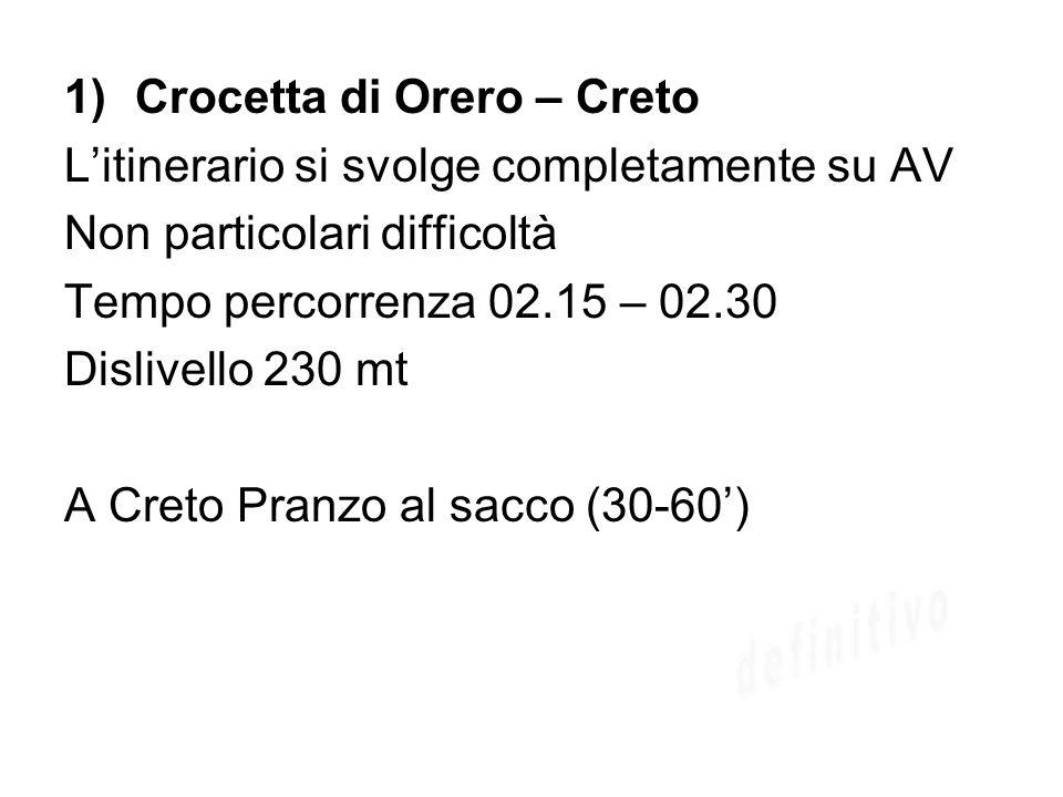 1)Crocetta di Orero – Creto Litinerario si svolge completamente su AV Non particolari difficoltà Tempo percorrenza 02.15 – 02.30 Dislivello 230 mt A C