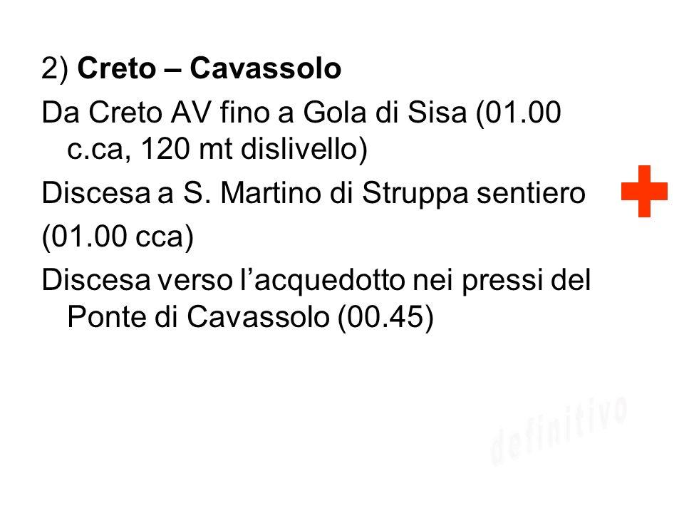 2) Creto – Cavassolo Da Creto AV fino a Gola di Sisa (01.00 c.ca, 120 mt dislivello) Discesa a S. Martino di Struppa sentiero (01.00 cca) Discesa vers
