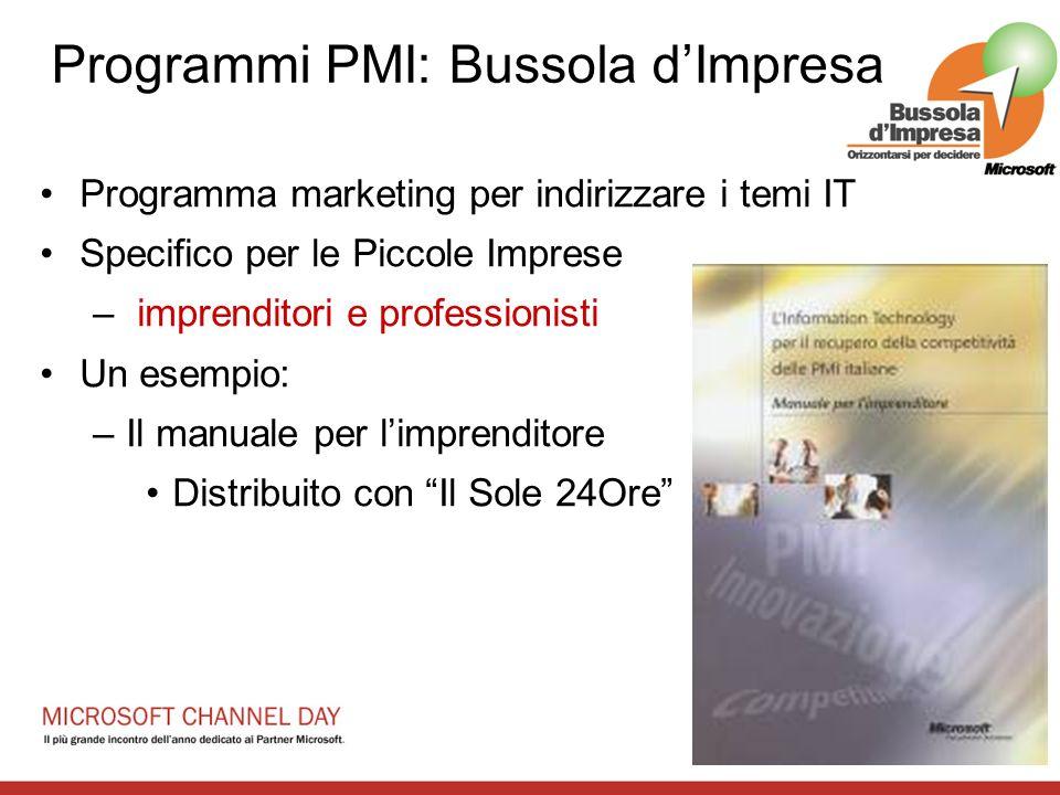 Programma marketing per indirizzare i temi IT Specifico per le Piccole Imprese – imprenditori e professionisti Un esempio: –Il manuale per limprenditore Distribuito con Il Sole 24Ore Programmi PMI: Bussola dImpresa