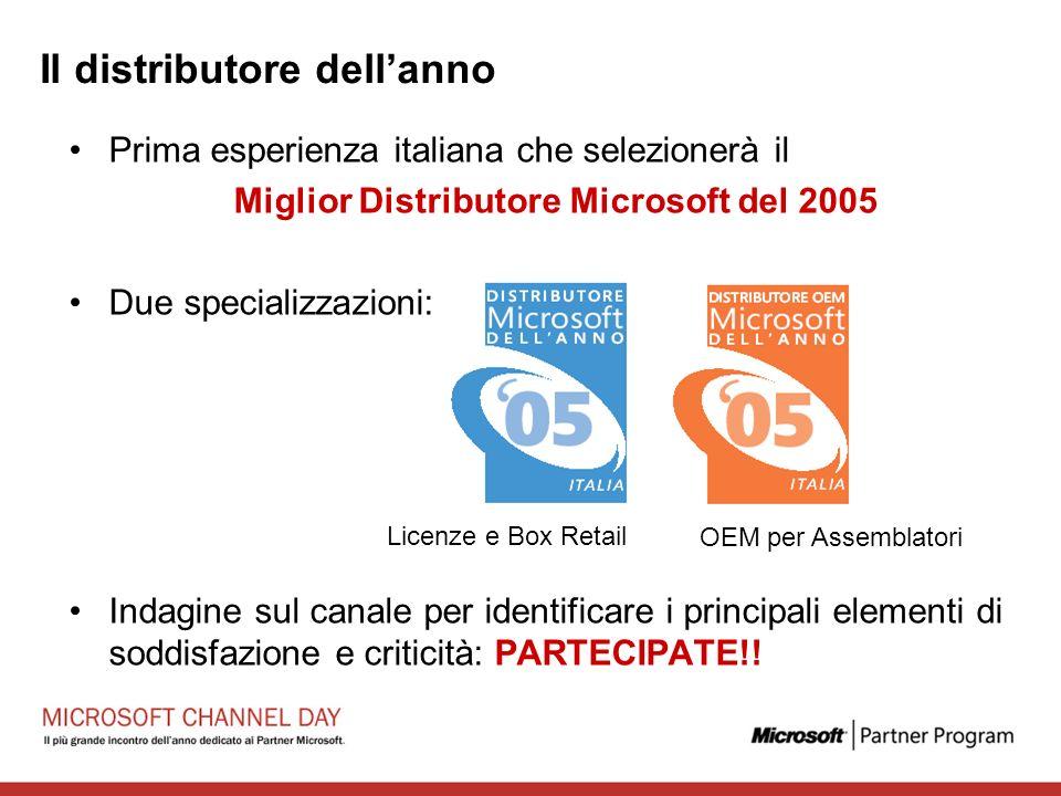 Il distributore dellanno Prima esperienza italiana che selezionerà il Miglior Distributore Microsoft del 2005 Due specializzazioni: Indagine sul canale per identificare i principali elementi di soddisfazione e criticità: PARTECIPATE!.
