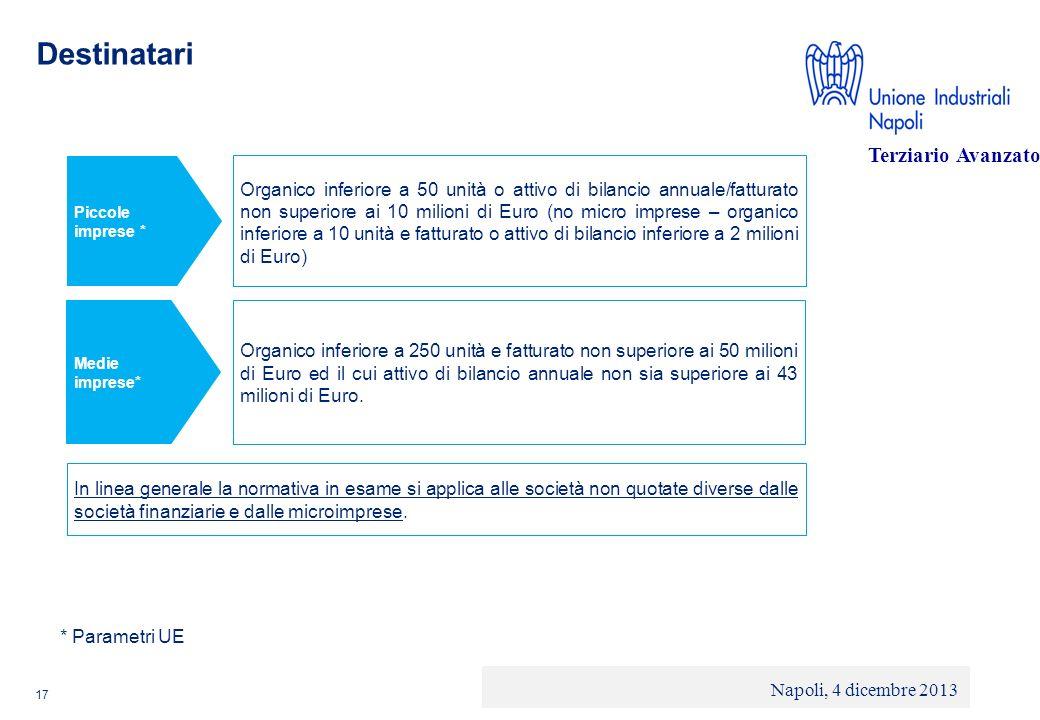 © 2013 Deloitte Touche Tohmatsu Limited - Private and confidential Destinatari 17 Piccole imprese * Organico inferiore a 50 unità o attivo di bilancio