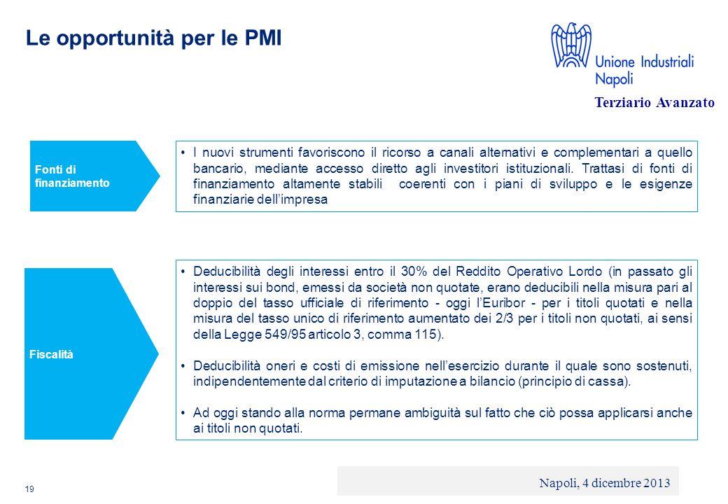 © 2013 Deloitte Touche Tohmatsu Limited - Private and confidential Le opportunità per le PMI 19 I nuovi strumenti favoriscono il ricorso a canali alte