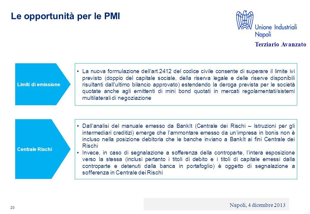 © 2013 Deloitte Touche Tohmatsu Limited - Private and confidential Le opportunità per le PMI 20 La nuova formulazione dellart.2412 del codice civile c
