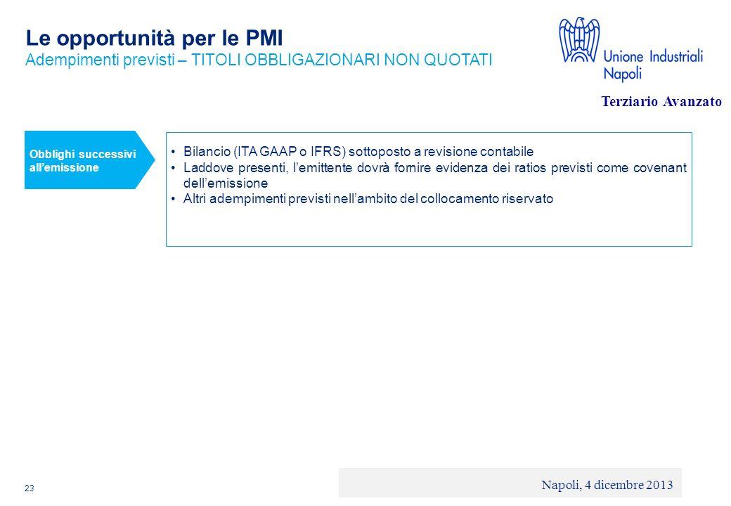 © 2013 Deloitte Touche Tohmatsu Limited - Private and confidential Le opportunità per le PMI 23 Adempimenti previsti – TITOLI OBBLIGAZIONARI NON QUOTA