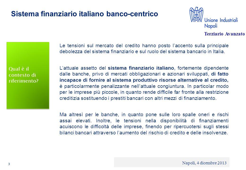 © 2013 Deloitte Touche Tohmatsu Limited - Private and confidential Sistema finanziario italiano banco-centrico Nel nostro paese, come noto, le banche rivestono un ruolo preminente nel finanziamento alle imprese: il credito bancario rappresenta infatti più di due terzi dei debiti finanziari complessivi delle aziende, valore superiore a quello che si riscontra in Germania (53%), in Francia (37%) e soprattutto nei paesi anglosassoni dove si attesta attorno al 29%.