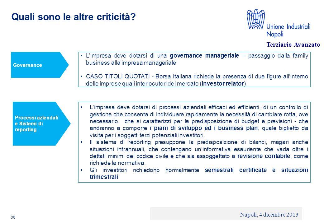 © 2013 Deloitte Touche Tohmatsu Limited - Private and confidential Quali sono le altre criticità? 30 Limpresa deve dotarsi di una governance manageria