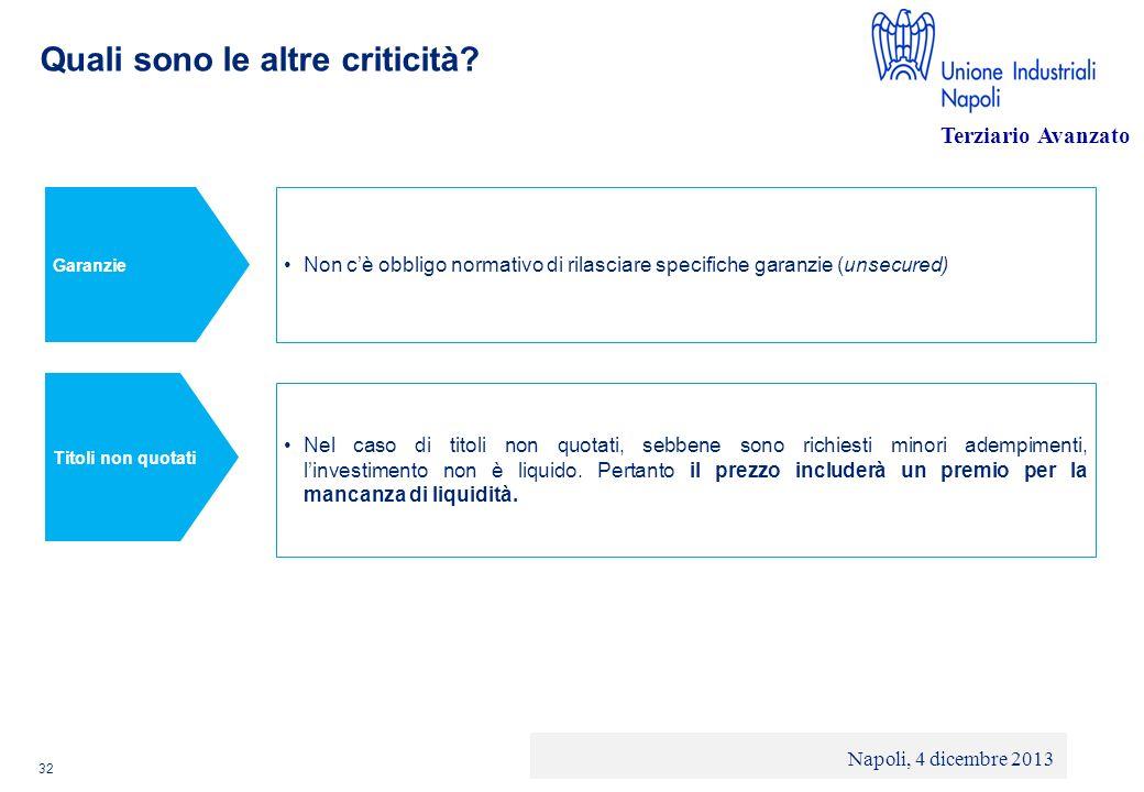 © 2013 Deloitte Touche Tohmatsu Limited - Private and confidential Quali sono le altre criticità? 32 Non cè obbligo normativo di rilasciare specifiche