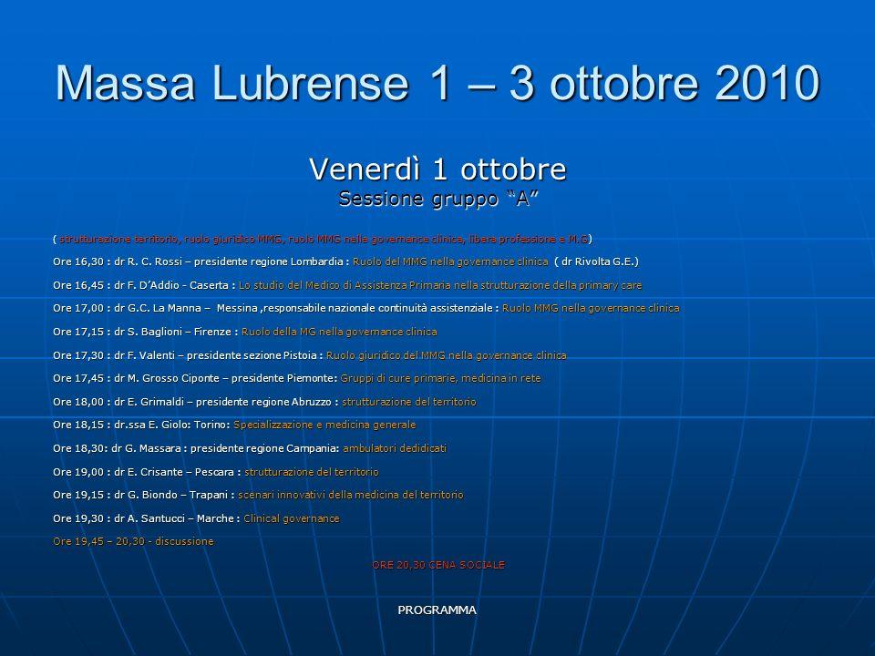 PROGRAMMA Massa Lubrense 1 – 3 ottobre 2010 Venerdì 1 ottobre Sessione gruppo A ( strutturazione territorio, ruolo giuridico MMG, ruolo MMG nella governance clinica, libera professione e M.G) Ore 16,30 : dr R.