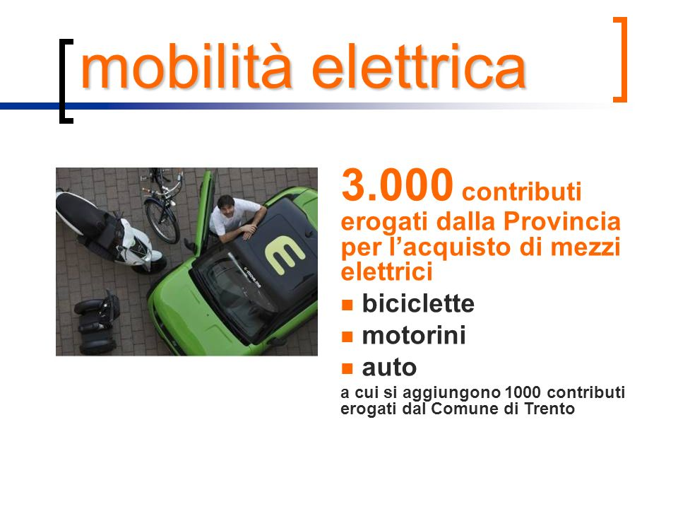 mobilità elettrica 3.000 contributi erogati dalla Provincia per lacquisto di mezzi elettrici biciclette motorini auto a cui si aggiungono 1000 contrib