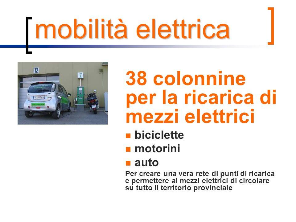 mobilità elettrica 38 colonnine per la ricarica di mezzi elettrici biciclette motorini auto Per creare una vera rete di punti di ricarica e permettere