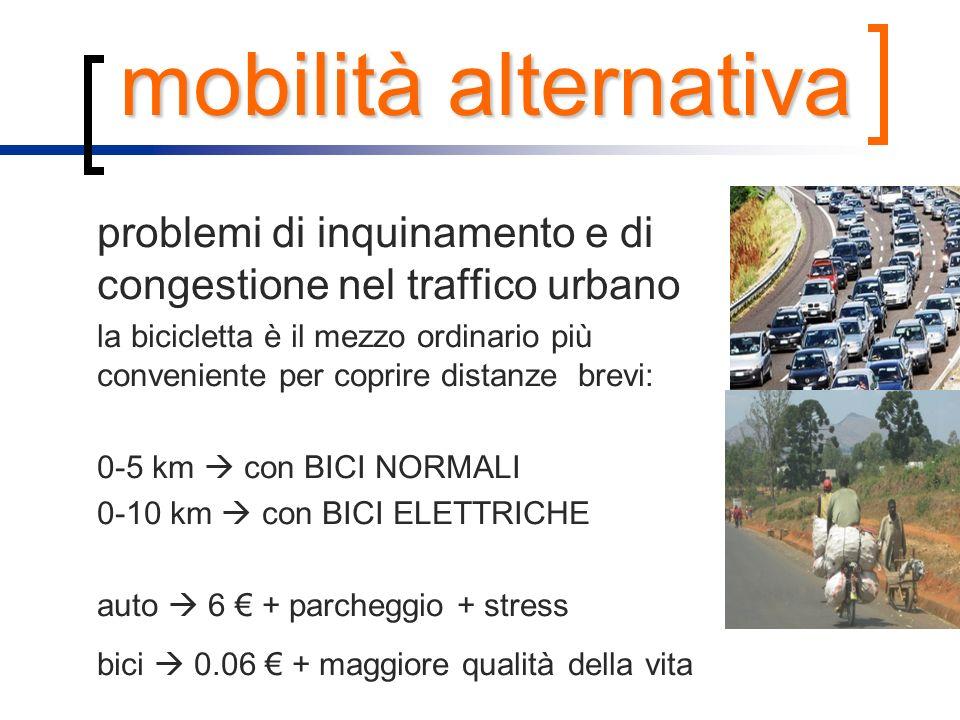 mobilità alternativa problemi di inquinamento e di congestione nel traffico urbano la bicicletta è il mezzo ordinario più conveniente per coprire dist