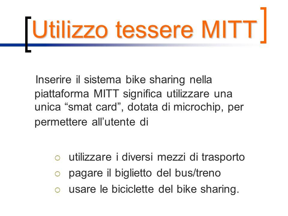 Utilizzo tessere MITT Inserire il sistema bike sharing nella piattaforma MITT significa utilizzare una unica smat card, dotata di microchip, per perme