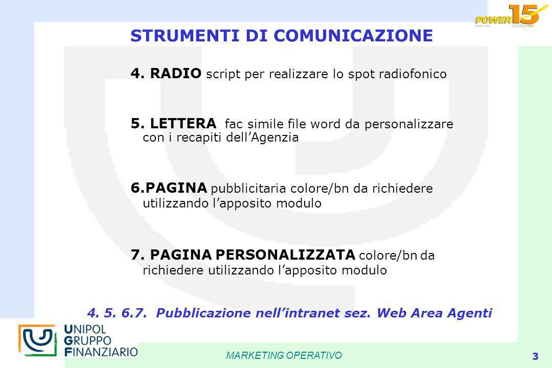 MARKETING OPERATIVO 3 4. RADIO script per realizzare lo spot radiofonico 5.