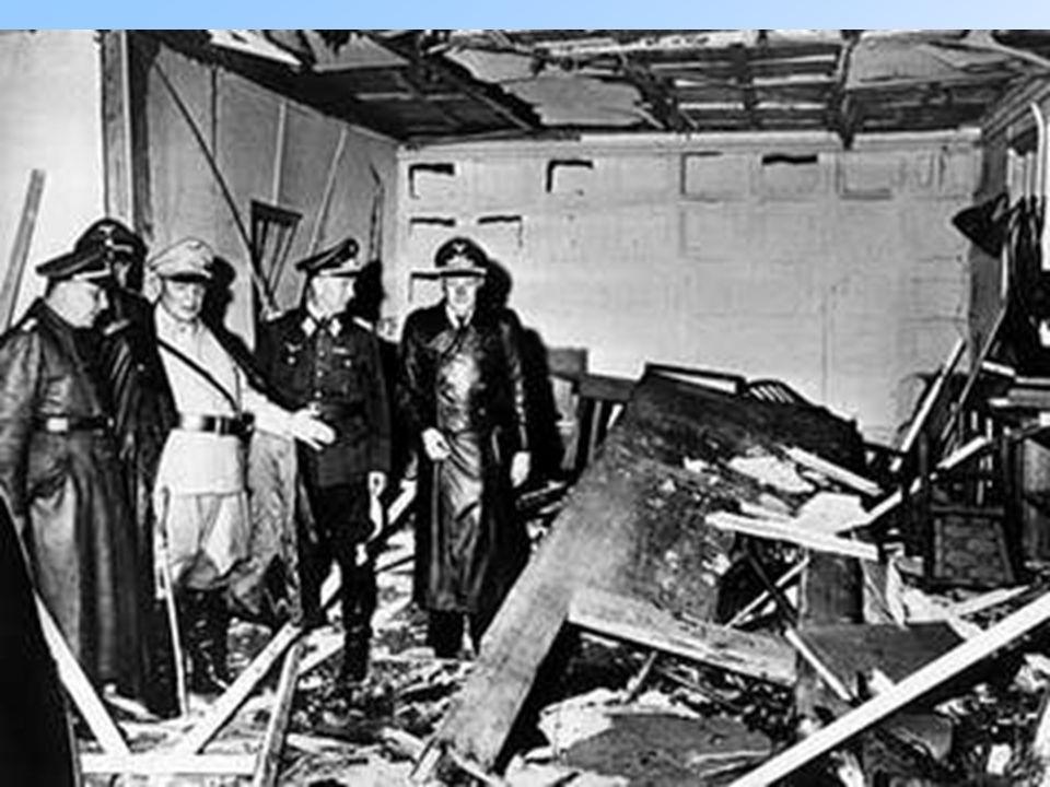 1944 Germania 20 luglio attentato al Fuhrer (STAUFFENBERG, alti ufficiali e aristocratici) per ottenere la pace. Fallimento, Hitler si vendica (5.000)