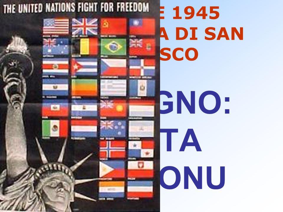 25 APRILE 1945 CONFERENZA DI SAN FRANCISCO 26 GIUGNO: CARTA DELLONU