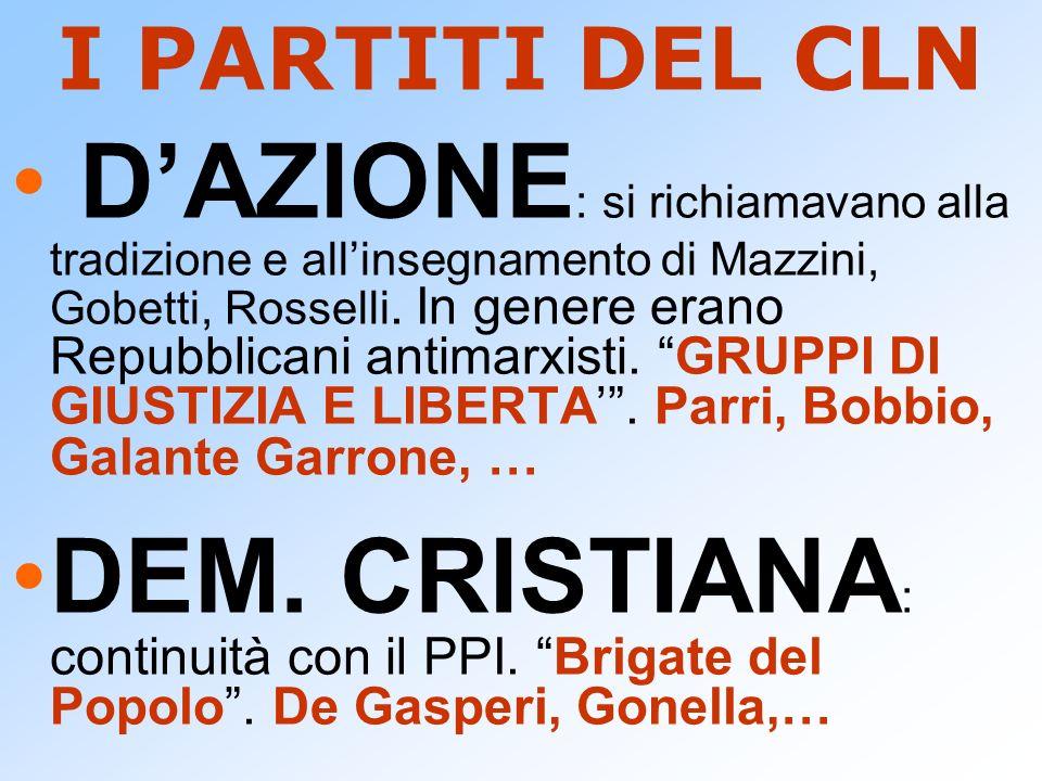 I PARTITI DEL CLN DAZIONE : si richiamavano alla tradizione e allinsegnamento di Mazzini, Gobetti, Rosselli. In genere erano Repubblicani antimarxisti
