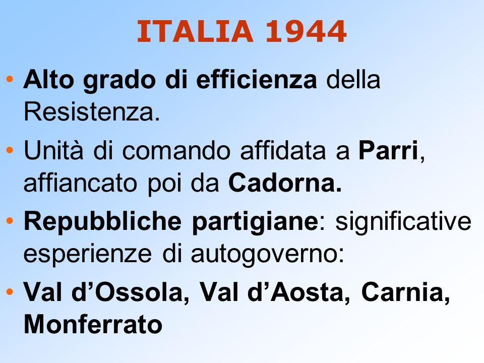 ITALIA 1944 Alto grado di efficienza della Resistenza. Unità di comando affidata a Parri, affiancato poi da Cadorna. Repubbliche partigiane: significa