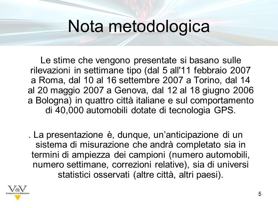 5 Nota metodologica Le stime che vengono presentate si basano sulle rilevazioni in settimane tipo (dal 5 all 11 febbraio 2007 a Roma, dal 10 al 16 settembre 2007 a Torino, dal 14 al 20 maggio 2007 a Genova, dal 12 al 18 giugno 2006 a Bologna) in quattro città italiane e sul comportamento di 40,000 automobili dotate di tecnologia GPS..