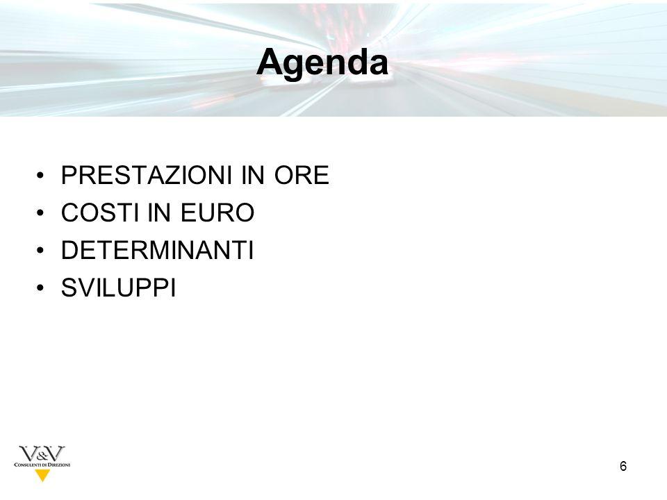 6 PRESTAZIONI IN ORE COSTI IN EURO DETERMINANTI SVILUPPI Agenda