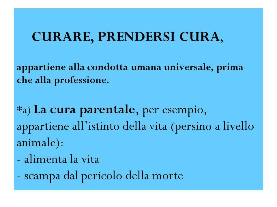 CURARE, PRENDERSI CURA, appartiene alla condotta umana universale, prima che alla professione. *a) La cura parentale, per esempio, appartiene allistin