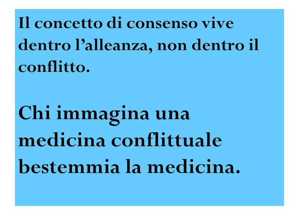 Il concetto di consenso vive dentro lalleanza, non dentro il conflitto. Chi immagina una medicina conflittuale bestemmia la medicina.