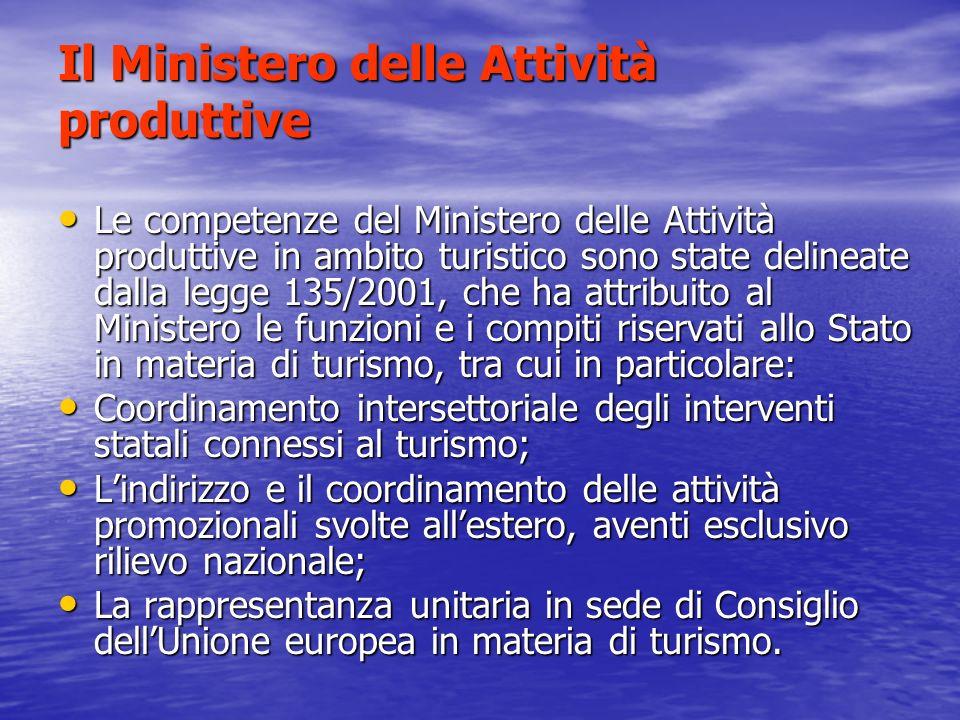 Il Ministero delle Attività produttive Il Ministero si occupa, tra laltro: degli incentivi alle imprese turistiche (in particolare attraverso il fondo di cofinanziamento dellofferta turistica, istituito dalla legge 135/2001).