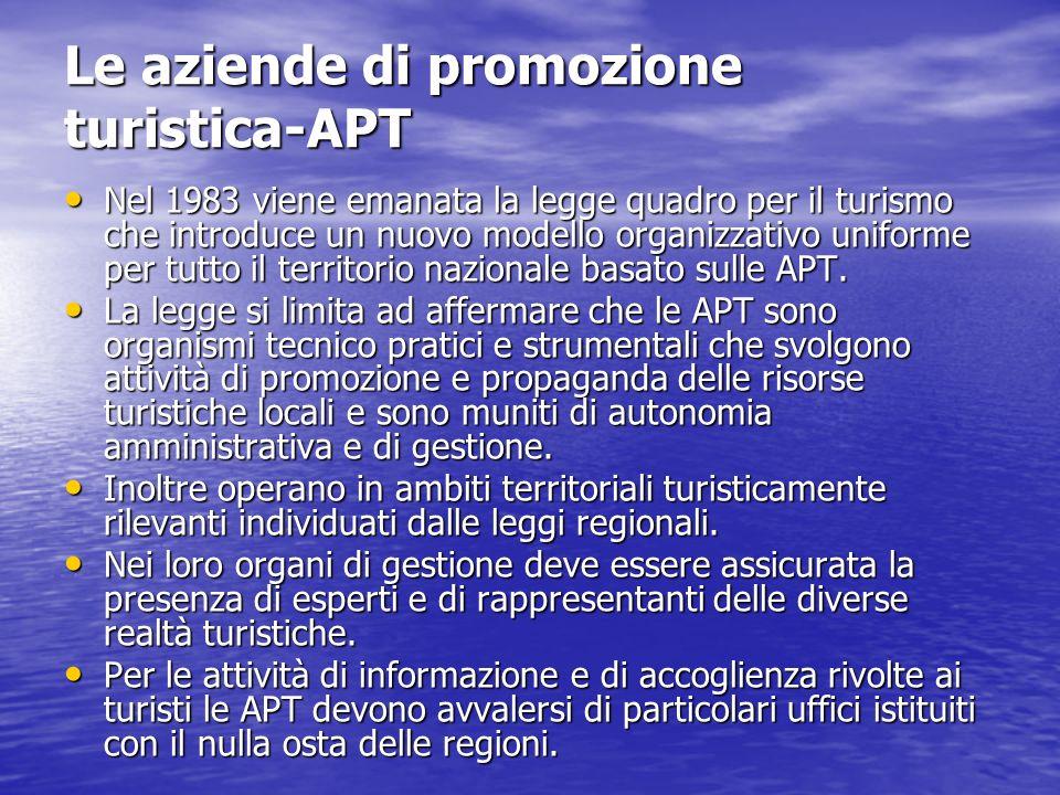 Le APT Il processo di attuazione delle APT è stato lento e faticoso e in alcune regioni è avvenuto soltanto alla fine degli anni 80.