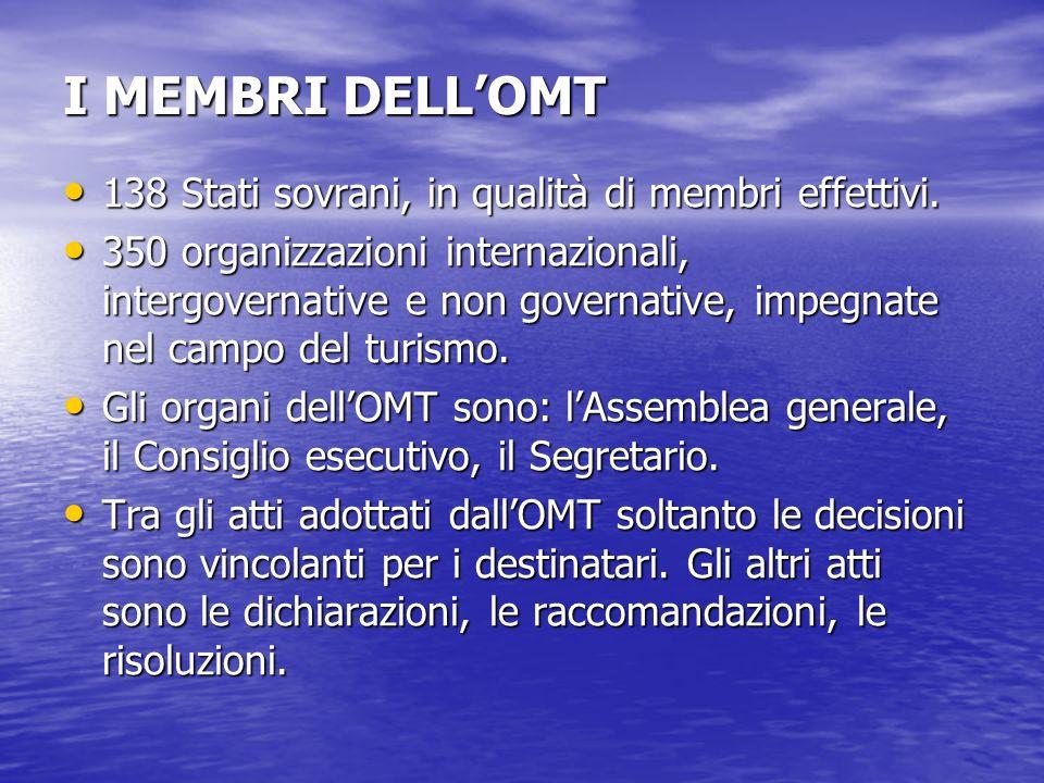 I MEMBRI DELLOMT 138 Stati sovrani, in qualità di membri effettivi. 138 Stati sovrani, in qualità di membri effettivi. 350 organizzazioni internaziona