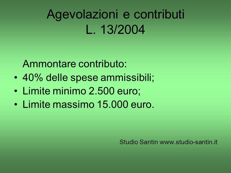Agevolazioni e contributi L. 13/2004 Ammontare contributo: 40% delle spese ammissibili; Limite minimo 2.500 euro; Limite massimo 15.000 euro. Studio S