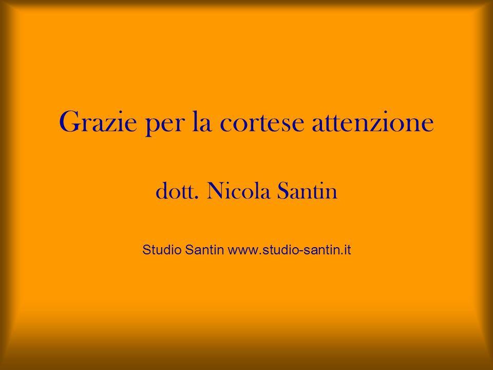 Grazie per la cortese attenzione dott. Nicola Santin Studio Santin www.studio-santin.it