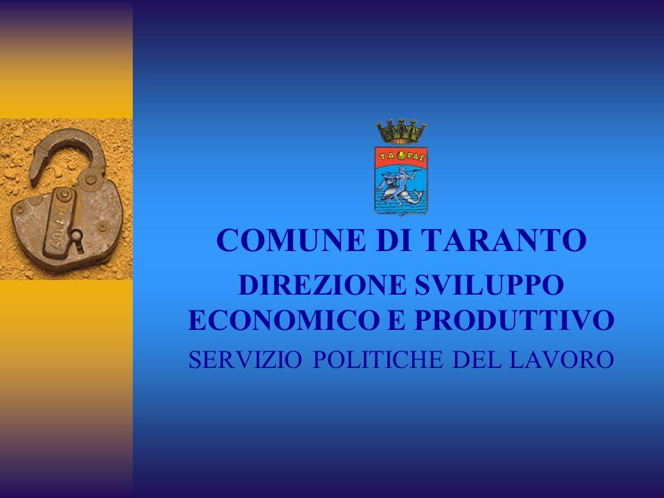 COMUNE DI TARANTO DIREZIONE SVILUPPO ECONOMICO E PRODUTTIVO SERVIZIO POLITICHE DEL LAVORO