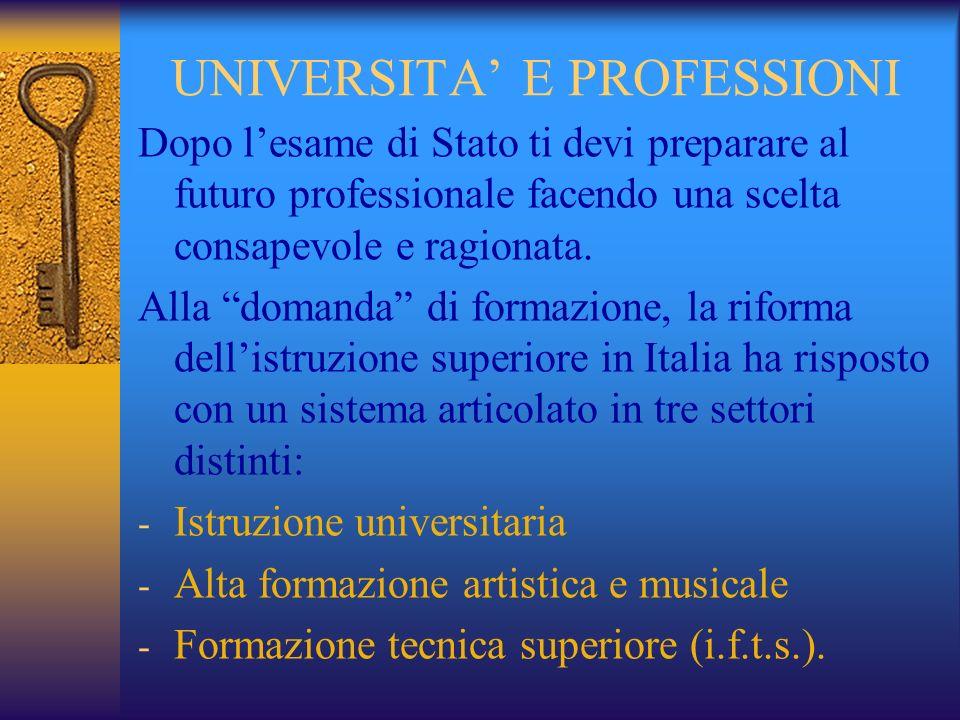 UNIVERSITA E PROFESSIONI Dopo lesame di Stato ti devi preparare al futuro professionale facendo una scelta consapevole e ragionata.