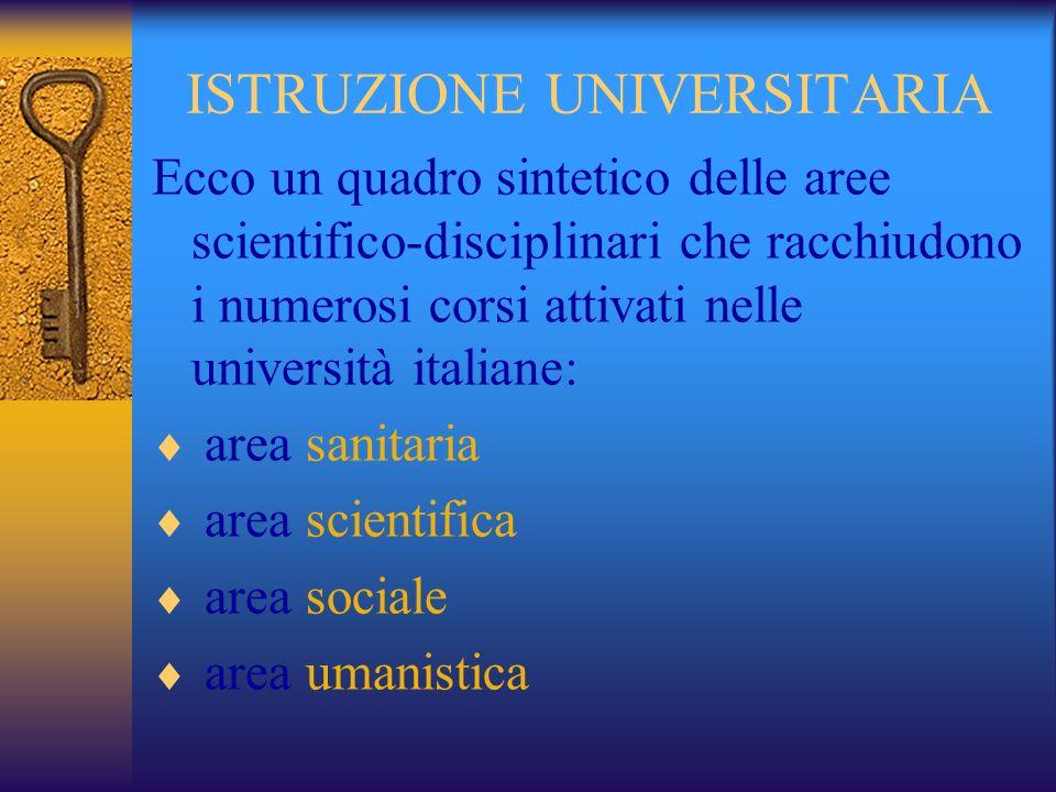 ISTRUZIONE UNIVERSITARIA Ecco un quadro sintetico delle aree scientifico-disciplinari che racchiudono i numerosi corsi attivati nelle università italiane: area sanitaria area scientifica area sociale area umanistica