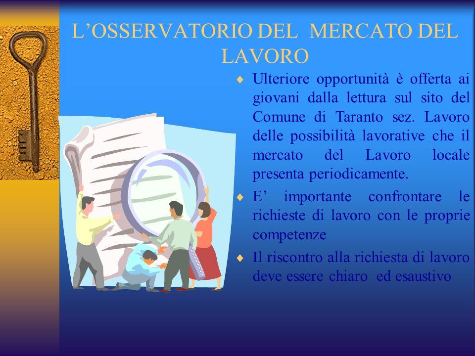 LOSSERVATORIO DEL MERCATO DEL LAVORO Ulteriore opportunità è offerta ai giovani dalla lettura sul sito del Comune di Taranto sez.