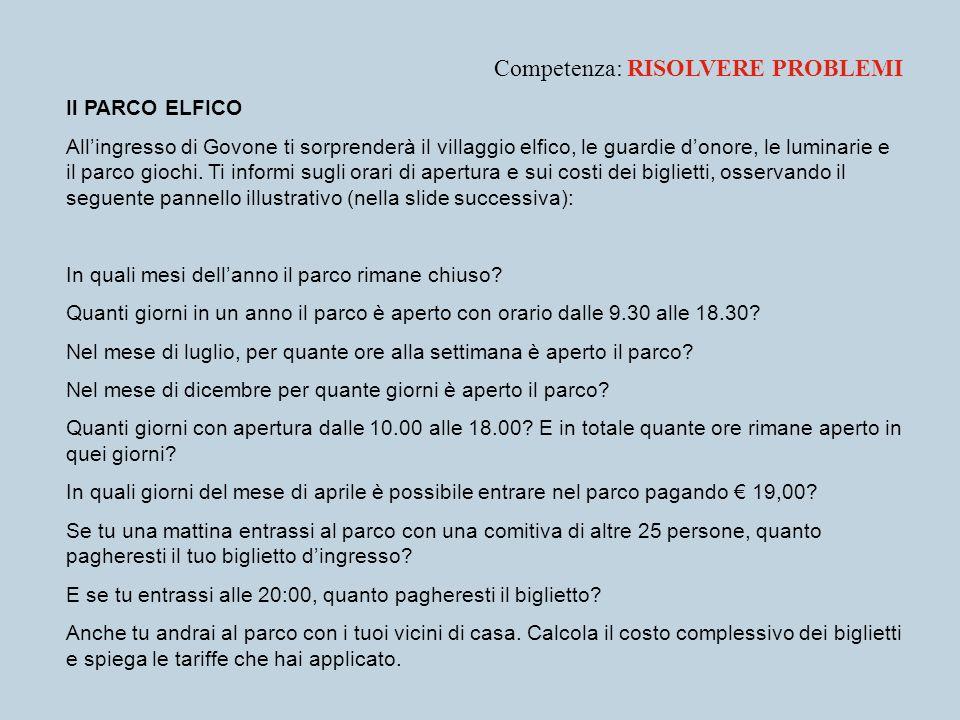 Competenza: RISOLVERE PROBLEMI Il PARCO ELFICO Allingresso di Govone ti sorprenderà il villaggio elfico, le guardie donore, le luminarie e il parco gi